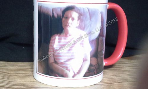 11 oz. Personalized White Photo Coffee Mug with Red Handle and rim
