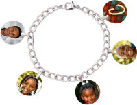 Personalized Photo Charm Bracelet with Charms and Swarovski Crystal Birthstones