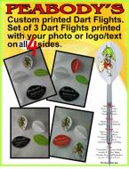 Custom Designed Dart Flights, 1 set of 3 flights printed on 4 sides, Personalized Dart Flights, Logo Dart Flights, Photo Dart Flights, Dart Flights