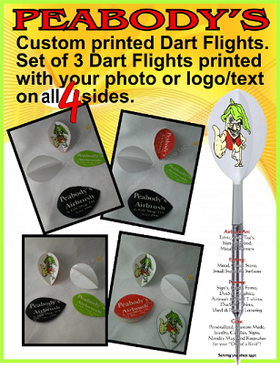 Custom Designed Dart Flights, 1 set of 3 flights printed on 4 sides, Personalized Dart Flights, Logo Dart Flights, Photo Dart Flights, Dart Flights