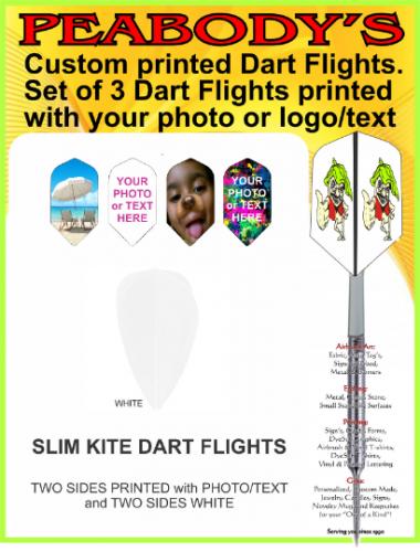 Custom Designed SLIM KITE Dart Flights, 1 set of 3 flights printed on 2 sides, Personalized Dart Flights, Logo Dart Flights, Photo Dart Flights, Dart Flights