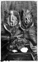 Personalized Monogram White Wine Glass, two sides